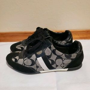 Coach Joss Sneakers Black Gray Canvas & Suede